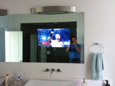 A Two-Way Mirror & TV Make for a Custom Master Bathroom