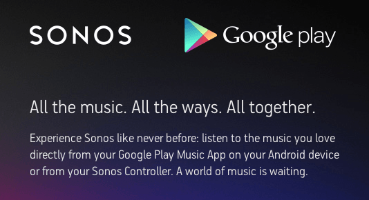 Google Play Music Streams Directly to Sonos